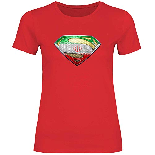 wowshirt Damen T-Shirt Iran Flagge Emblem Persisch Fahne, Größe:XXL, Farbe:Red