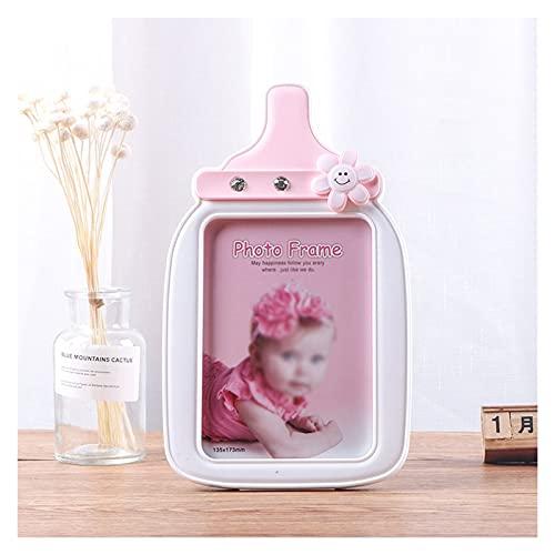 KGDC Marco de Fotos Marco de Fotos de la Botella de Leche Creativa de 5x7 para niños con Vidrio de Alta definición para la Pared o la Pantalla de la Mesa Portafotos (Color : Pink)