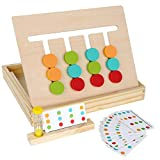 Montessori Learning Toys Slide Puzzle Color & Shape Matching Brain Teasers Logic Game Preschool Educational Wooden Toys for Kids Child Boys Girls Age 3 4 5 6 7 Years Old Family Game Travel Toys