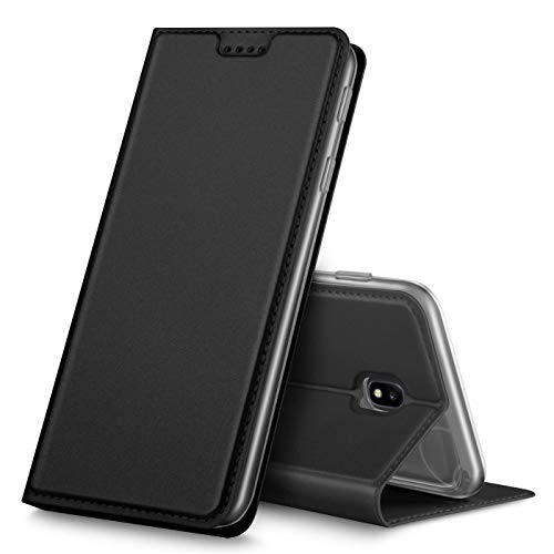 Verco Handyhülle für Galaxy J3 (2017), Premium Handy Flip Cover für Samsung Galaxy J3 Hülle [integr. Magnet] Book Hülle PU Leder Tasche [J3 J330], Schwarz