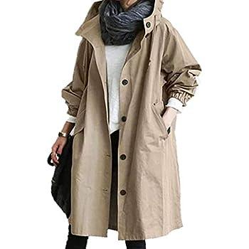 Youmymine Women s Long Sleeve Warm Coat Fashion Winter Warm Plush Hooded Zip Outwear with Pocket  L Khaki