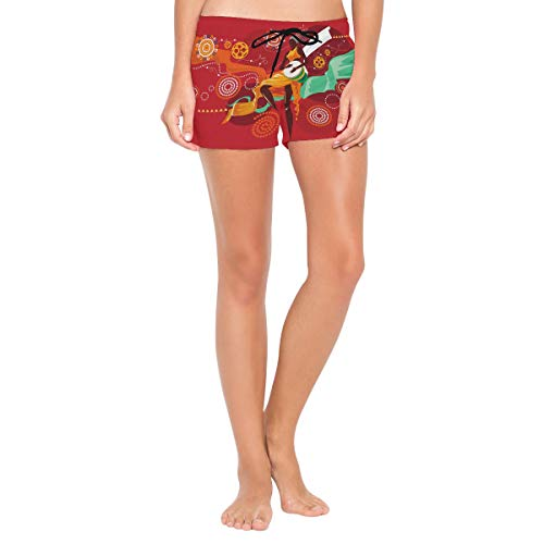 LUPINZ - Pantalones cortos de playa para mujer, diseño africano Djembe 1...