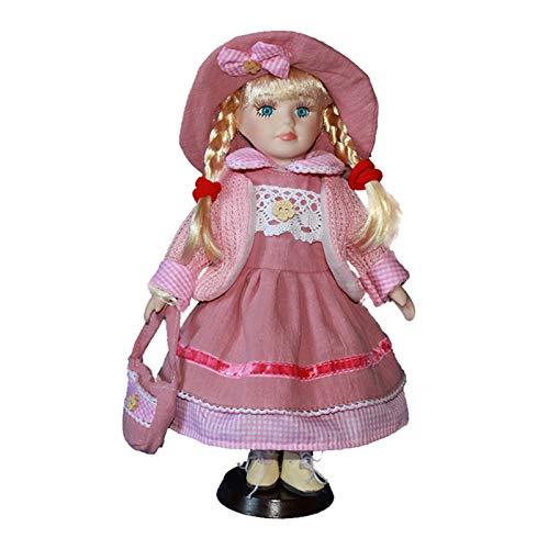 T TOOYFUL 12 Zoll Vintage Porzellan Puppe Im Kleid, Kreative Valentin Geschenk Für Freundin, Puppenhaus Menschen Display Dekor - Rot