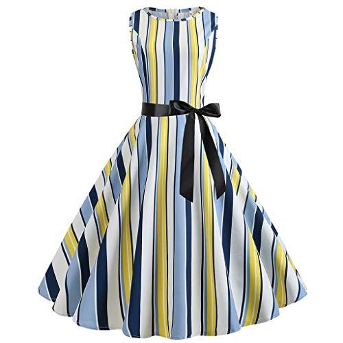 Auifor Vestido Retro de Fiesta de Noche con Estampado de Cuello Retro sin Mangas, de 50 años, para Mujer
