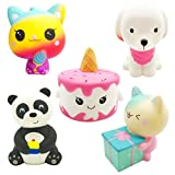 Ouflow 5Pcs Slow Rising Jumbo Squishies Pack Include Kawaii Unicorn Cake,Ice Cream Cat,Panda,Pink Dog,Gift Cat Soft Novelty Squishy Toys Party Favors, Christmas Stocking Stuffers for Kids