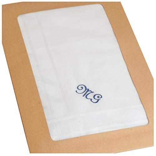 Merrysquare - Fazzoletti bianchi personalizzati - 3 pezzi in un astuccio di kraft naturale - 100%...