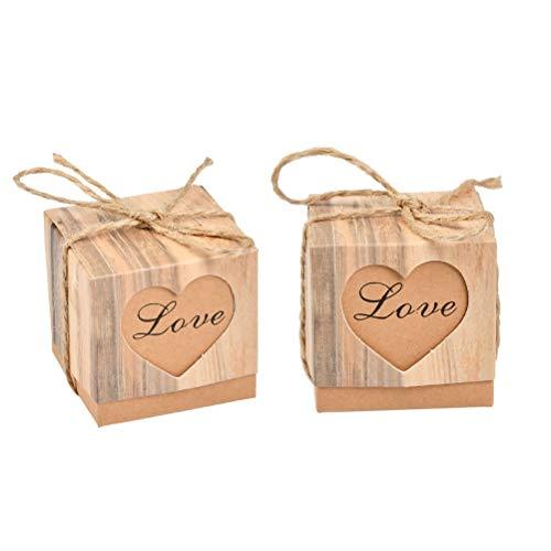 WOWOSS 100 pcs Emballage de Boîtes pour Cadeaux ou Bonbons Mariage, Bonbonnières en Kraft Vintage avec Corde de Chanvre