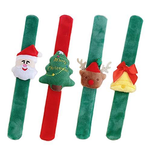 YUIP Natale Bracelet, Braccialetti Natale Schiaffo Wristband, Natale Che Vendono Braccialetti da Applauso per Bambini Costume da Festa Puntelli Natale, 4 Pezzi