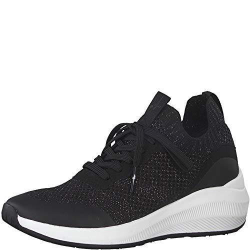 Tamaris Damen Schnürhalbschuhe, Frauen sportlicher Schnürer,lose Einlage, Halbschuh schnürschuh strassenschuh Sneaker,Black Silver,42 EU / 8 UK