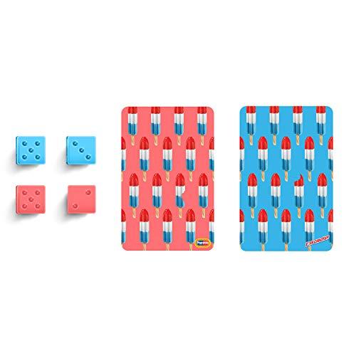 MVMT Popsicle-Spielkarten und Würfel-Set, 2 Kartendecks, 4 Würfel, Regenbogen- und Feuerrecracker-Design, Firecracker