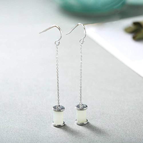 WOZUIMEI Chinese Style Earrings Eardrop S925 Sterling Silver Earrings Fashion Temperament Long Tassel Female Nephrite White Jade Earrings Fashion Earrings White Jade Ear line