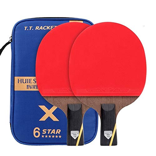 Affordable NOLOGO TXBH 6 Star Table Tennis Racket Sets Double Face Pimples-in Rubber Ping Pong Bat w...