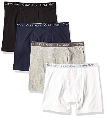 Calvin Klein Boys Underwear Boxer Briefs Value, 4 Pack - Solid Pack, 12-14