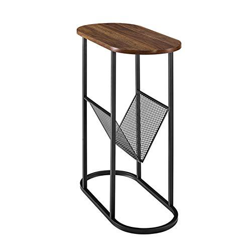Wood Side Table, Balcony Leisure Table Dual-purpose Table Multifunctional Flower Rack & Magazine Rack Sofa Side Table(Size:58 * 28 * 63CM)