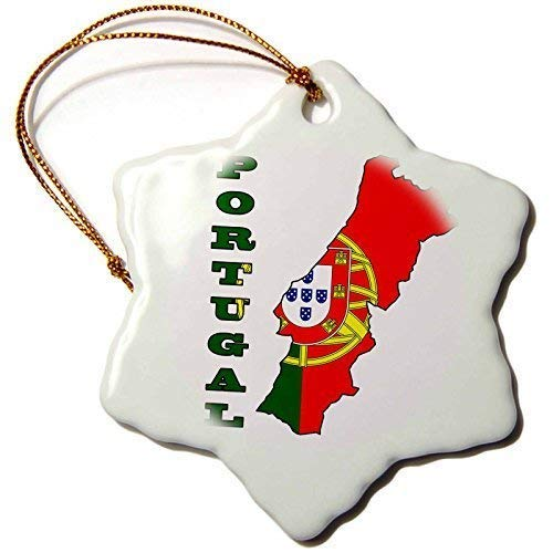 Mesllings Funny Christmas Ornament The Flag of Portugal in The Outline Map and Name of The Country, Portugal Snowflake Porcelain Ornament,