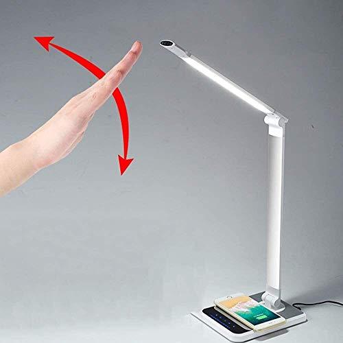 QIURUIXIANG - Lámpara LED plegable, con un puerto USB ojo regulable lámpara oficina, tres tipos de modos de iluminación, 10 luminancia