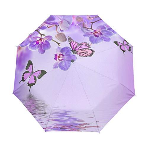 Hunihuni Regenschirm, Blumen-Orchideen-Schmetterling, automatisch, faltbar, Winddicht, wasserdicht, UV-Schutz, Sonnenschutz