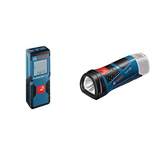 Bosch Professional Laser Entfernungsmesser GLM 30 (Ein-Knopf-Bedienung, max. Messbereich: 30 m; 2x 1,5-V Batterien) & 12V System Akku LED Taschenlampe GLI 12V-80 (80 Lumen, ohne Akkus und Ladegerät)