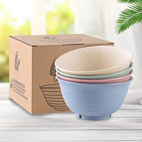 Best Microwave Bowl Set. All Natural Wheat Straw-4 Pack. Non-Toxic/BPA Free/Eco-friendly. Reusable-Dishwasher Safe. Unbreakable. 36 oz Perfect size for soup, leftovers, cereal, dessert