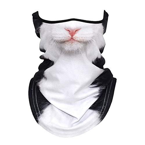 Dantazz Schlauchschal Katze Hund Tier Drucken Multifunktionstuch Sommer Atmungsakt Dünn Motorrad Mundschutz Halstuch für Damen und Herren (C)