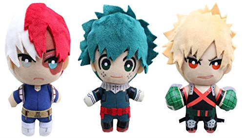 3 Pcs My Hero Animation Plush Keychain Toy Figure Set Anime Plushie Clip Pendant Keychains 6' (Bakugou+Todoroki+Deku)