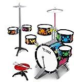 LuoKe Rock Band Jazz Drum Set Instrumentos de percusión Kit de batería Música Juguetes educativos Festival Regalo con 7 Piezas de batería y 2 Piezas de platillo para niños Principiantes