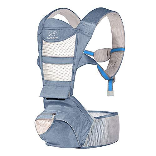 Riñonera para bebé ergonómica con asiento de puro algodón ligero y transpirable – Multiposición ajustable para bebés y niños de 0 a 4 años – Portabebés para bebé y bebé – Certificado CE