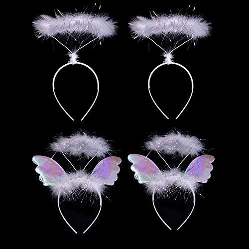 4 diademas de ángel de plumas blancas para fiestas temáticas, accesorio de disfraz para niños y mujeres