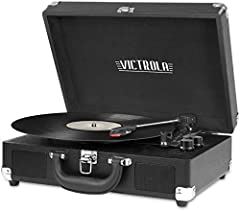 THREE SPEED BELT-DRIVEN TURNTABLE - This 3-speed (33 1/3, 45, 78 rpm) suitcase record player features UPGRADED PREMIUM SOUND QUALITY and sits on sound isolating feet that prevent vibration. It is perfect for your living room, bedroom or office. TAKE ...