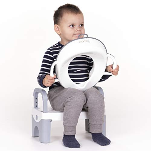 Bisoo - Set de Ayuda para Aprender a Ir al Baño - Adaptador Reductor WC Niños y Niñas + Escalon Taburete Plegable - Antideslizante Compacto y Portátil (Gris)