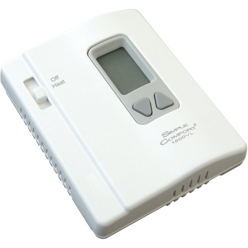 ICM Controls SC1600VL ICM Simple Comfort Thermostat, Heat Only, No Fan Switch, Remote Sensing, Battery, Vertical,Multicolor
