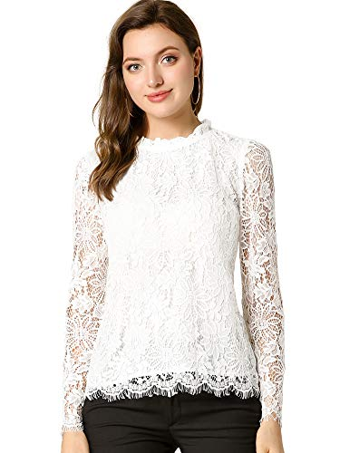 Allegra K Women's Lace Top Long Sleeve Ruffle Neck Floral Blouse Large White