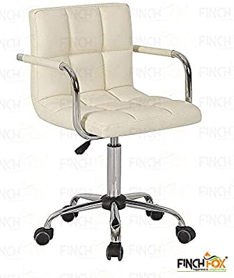 Finch Fox Height-Adjustable Faux-Leather Arm Small Office Desk Chair for Computer/Salon/Spa/Bar/Medical/Kitchen (Cream)