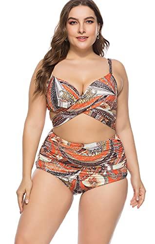 NEWAT - Costume da bagno da donna, 2 pezzi, bikini a vita alta, con fascia stampata e motivo floreale, 2 pezzi, C, 5XL
