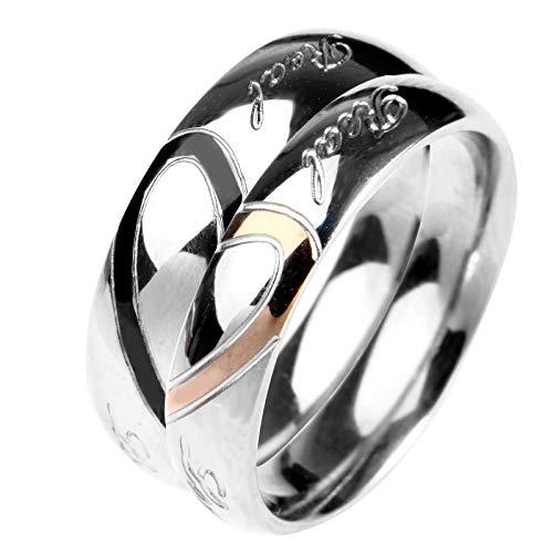 ROMQUEEN Schmuck Ring Partnerringe Für Frauen Geburtstag Fussball Deko,Silber,Frau:55(17.5)&Mann:59.5(19)