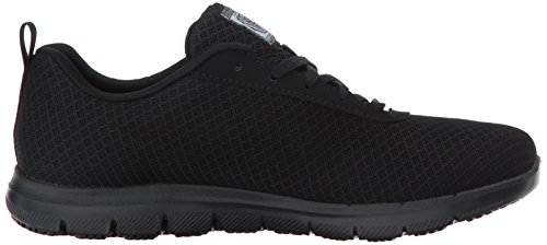 Skechers Womens Ghenter - Bronaugh Work Shoe, Black Mesh/Water/Stain Repellent Treatment, 7.5 US