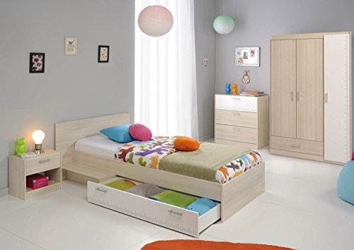 Parisot Kinderzimmermöbel-Set 4tlg. Charly 12 Kinderzimmermöbel-Set 4tlg. in der Farbe Akazie / Weiss Melamin