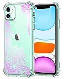 Oihxse Cristal Compatible con iPhone 12 Mini 5.4'' 2020 Funda Transparente TPU Silicona Estuche Airbag Esquinas Anti-Choque Anti Rasguños Diseño Rosa Flower Caso (Flores B1)