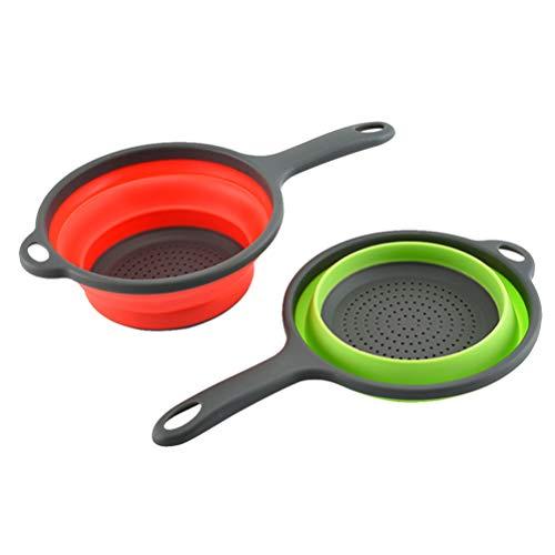 LUOEM 2 Piezas Coladores Y Coladores de Silicona Plegables Colador de Cocina Colador de Espacio para Verduras Cesta de Escurridor de Frutas (Color Aleatorio)