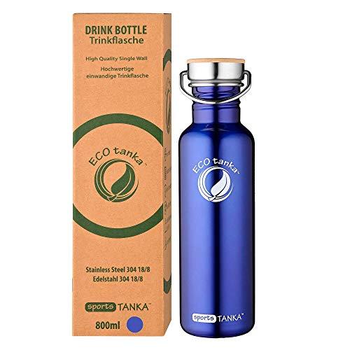 ECOtanka sportsTANKA 800ml Edelstahl Trinkflasche BPA frei inkl. Ersatzdichtungs-Service - auslaufsicher, einfache Reinigung, kohlensäuregeeignet, langlebig