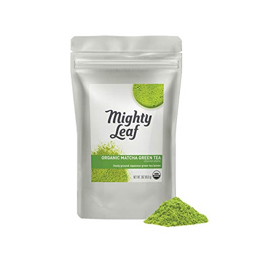 Mighty Leaf Organic Matcha Green Tea Powder, 3 Ounce Pouch Green Tea Matcha Powder in Bulk, Whisk Into Hot Water for a Creamy Green Beverage, Makes a Delicious Iced Tea