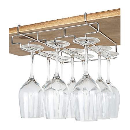 3 Rows Under Cabinet Stemware Wine Glass Holder Glasses Storage Hanger Metal Organizer for Bar,Kitchen,Black 2 Pack Wine Glass Rack