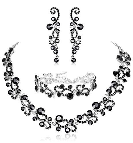 JOERICA Rhinestone Necklace and Earrings Set for Women Wave Flower Fashion Costume Jewelry
