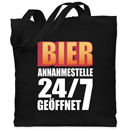Shirtracer Sprüche - Bier Annahmestelle 24/7 geöffnet - Unisize - Schwarz - jutebeutel schwarz - WM101 - Stoffbeutel aus Baumwolle Jutebeutel lange Henkel