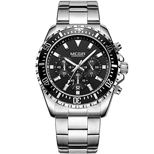 MEGIR Reloj de pulsera analógico de cuarzo para hombre, con cronógrafo, resistente al agua, esfera redonda de color plateado y negro, con lujosa correa de acero inoxidable plateada para hombres