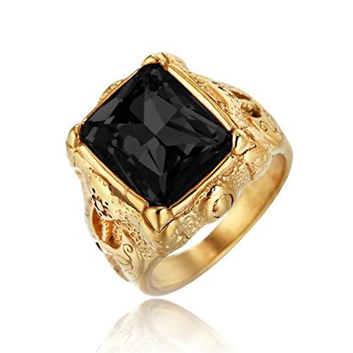 Lafeil Gothic Ring Gold Herr Der Ringe Axt Gold Gr. 65 (20.7) 20mm Breit 11G Schwarz Gothicring