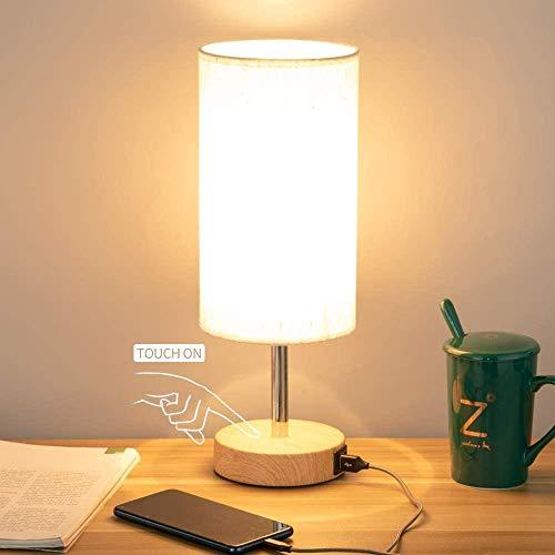 FYONG - Lámpara de noche con puerto USB, lámpara de mesa de control táctil para dormitorio de madera, 3 vías, regulable, tablero de mesa con techo redondo para sala de estar, dormitorio