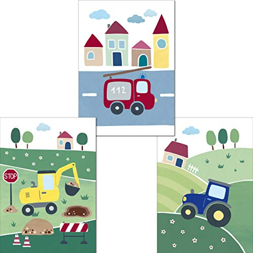 LALELU-Prints | A4 Bilder Kinderzimmer Poster | Süße Fahrzeuge | Babyzimmer Deko Junge Mädchen | 3er Set Kinderbilder (DIN A4 ohne Rahmen)