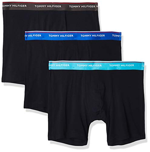 Tommy Hilfiger 3p WB Boxer Brief Ropa Interior, Ceniza Oscura/Teal Acuático/Azul Eléctrico,...