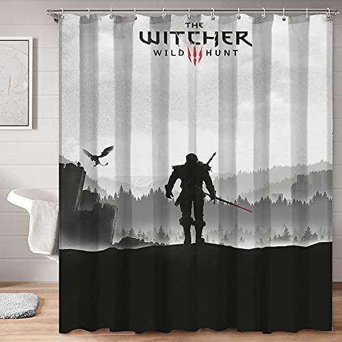 SSKJTC Tela de tela de baño Decoración The Witcher 3 Wild Hunt Dark Style Soft Touch Cortinas de textura de tela decorativa de 36 x 72 pulgadas (92 x 183 cm)